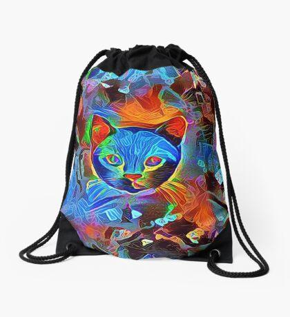 Black cat Drawstring Bag