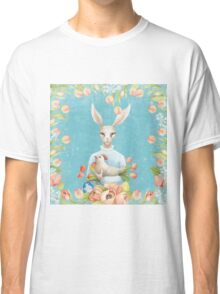 Beautiful Floral Flowers Female Animal Easter Bunny  Classic T-Shirt