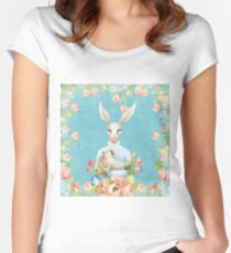 Beautiful Floral Flowers Female Animal Easter Bunny  Women's Fitted Scoop T-Shirt