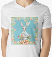 Beautiful Floral Flowers Female Animal Easter Bunny  T-Shirt