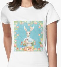 Beautiful Floral Flowers Female Animal Easter Bunny  Womens Fitted T-Shirt