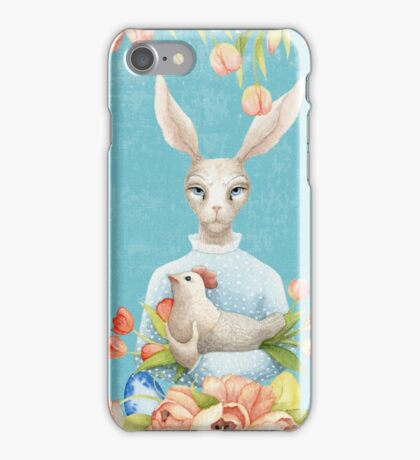 Beautiful Floral Flowers Female Animal Easter Bunny  iPhone Case/Skin