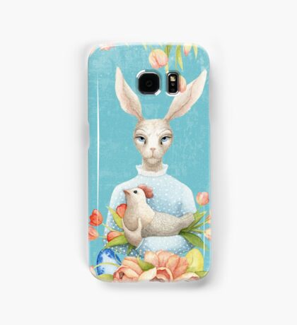Beautiful Floral Flowers Female Animal Easter Bunny  Samsung Galaxy Case/Skin