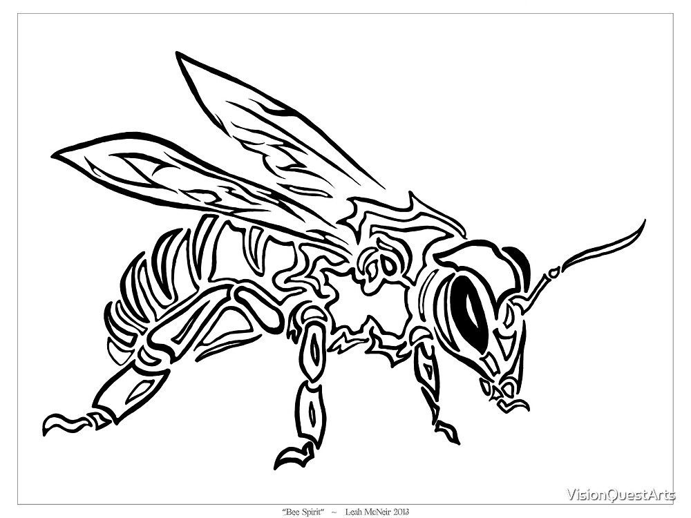 """""""Bee Spirit"""" ver.1 - Surreal abstract tribal bee totem animal by VisionQuestArts"""