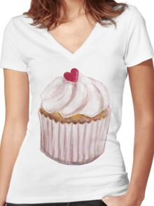 Vanilla Sweet Heart Cherry Cupcake Women's Fitted V-Neck T-Shirt