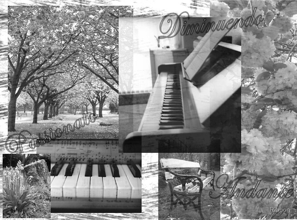 Piano Music Collage by Ribbon