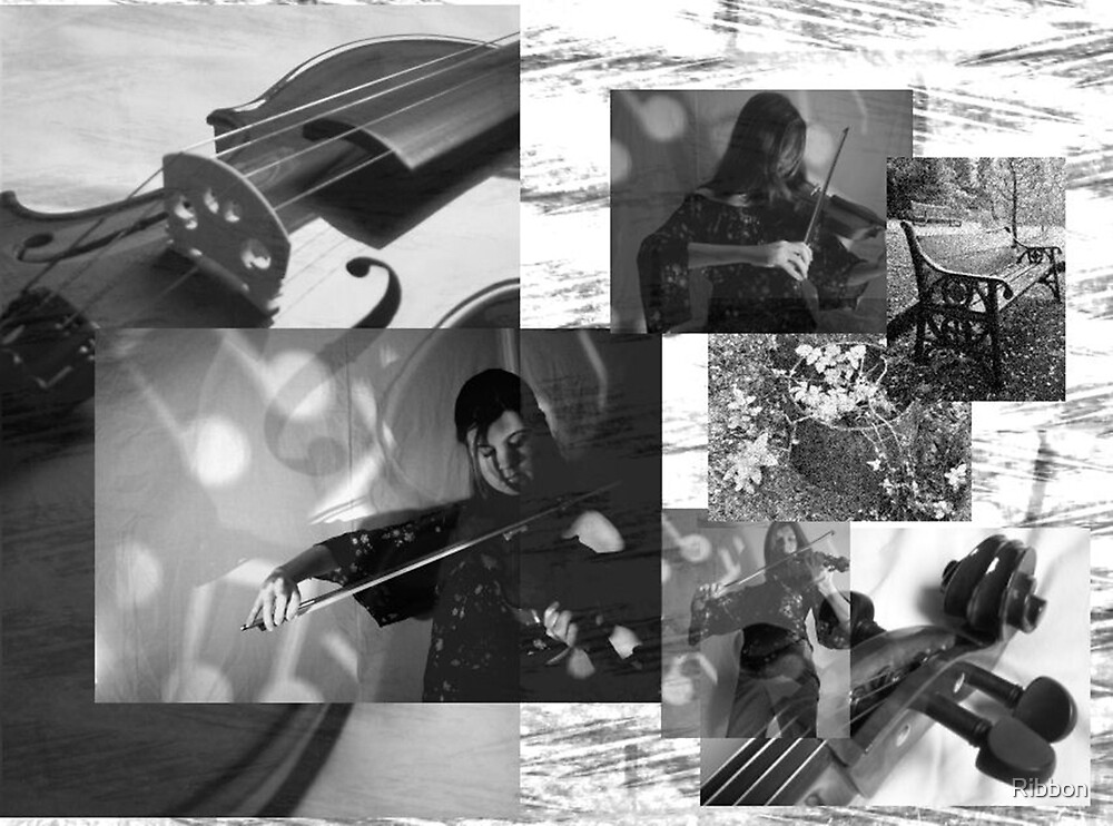 The Violin Player Music Collage by Ribbon
