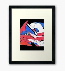 Blue VS Red Dragon Framed Print