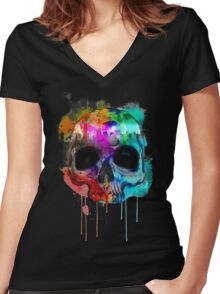 Skull and city with colors Women's Fitted V-Neck T-Shirt
