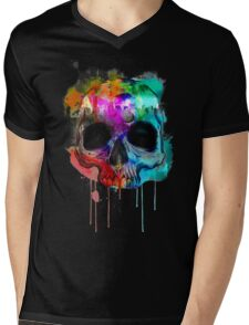 Skull and city with colors Mens V-Neck T-Shirt