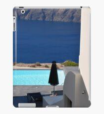 Swimming pool near the sea in Santorini, Greece iPad Case/Skin