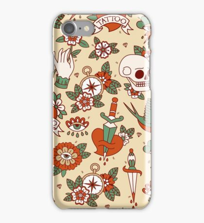 Traditional Old School Tattoo Pattern iPhone Case/Skin