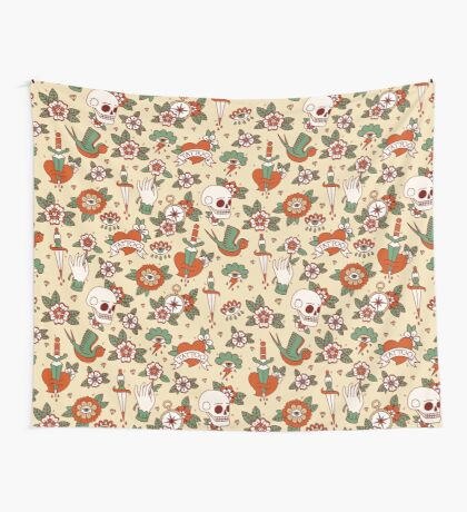 Traditional Old School Tattoo Pattern Wall Tapestry