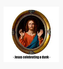 Jesus celebrating a dunk Photographic Print