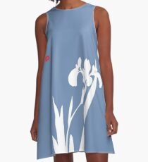 Blue and White Flower Silhouette  A-Line Dress