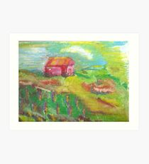 essence of a red barn Art Print