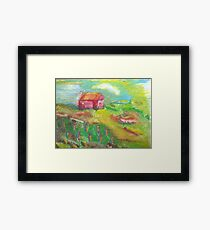 essence of a red barn Framed Print