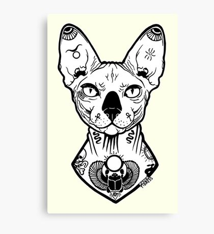 sphynx tattooed Canvas Print