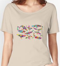 MULTICOLOURED POD OF WHALES ARTSHIRT Women's Relaxed Fit T-Shirt