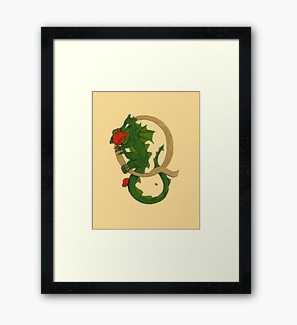 "Oscar and the Roses ""Q -Tail"" (Illustrated Alphabet) Framed Print"