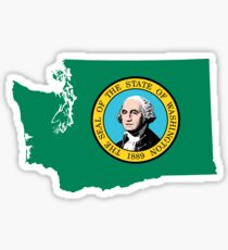 Washington State Flag Map Sticker
