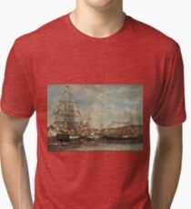 Eugne Boudin - Festival In The Harbor Of Honfleur 1858 Tri-blend T-Shirt