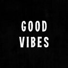 Grungy Distressed Ink Print Good Vibes | White on Black by itsjensworld
