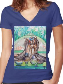 Dogs Life serie - beauty doggy Women's Fitted V-Neck T-Shirt