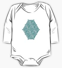 Geodesic Palm_Turquoise One Piece - Long Sleeve