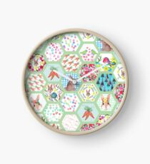 Spring Rabbit Floral Patchwork hexagons Clock