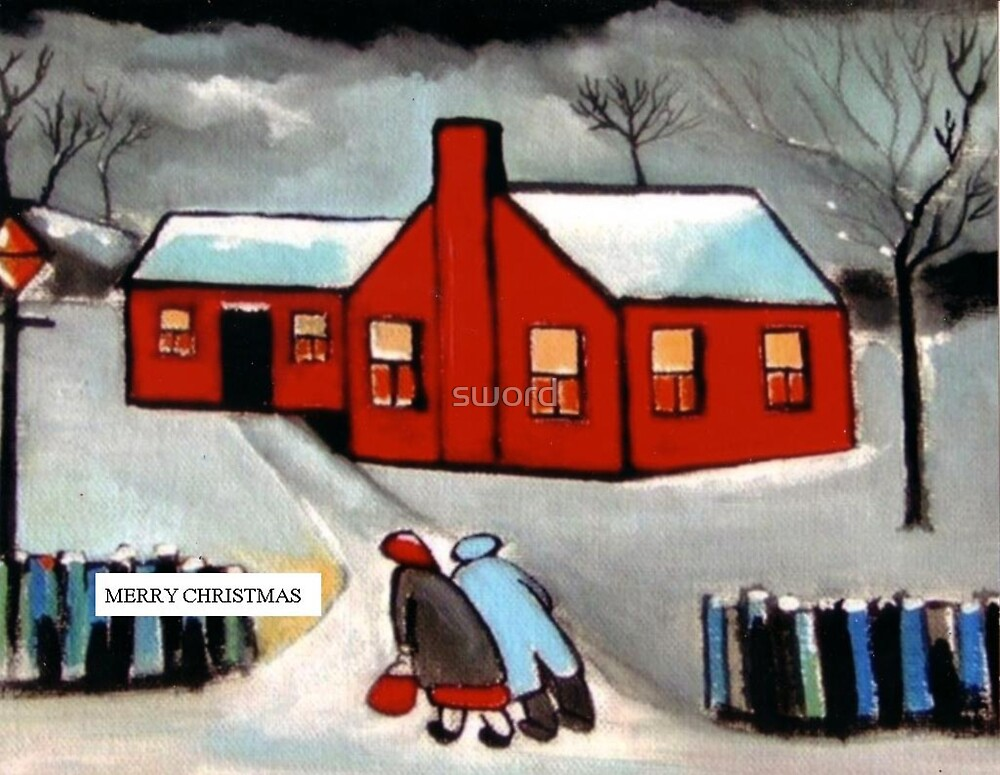Merry christmas card the little red house (from my original acrylic painting) by sword
