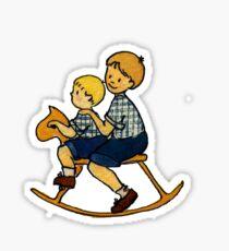Siblings on a hobbyhorse Sticker
