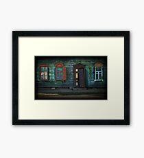 Grunge Wooden House Door Outdoors Framed Print