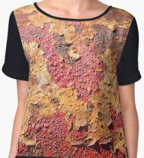 Grunge Old Paint Rust Design Women's Chiffon Top