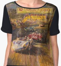 Vintage Racing Painting Nostalgic Cars Chiffon Top