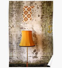 Retro Grunge Yellow Lampshade Old Painted Wall  Poster