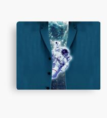 Astronaut in space looks out of a blue jacket Canvas Print
