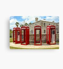 Vintage English Red Telephone Box Phone Booth England Canvas Print