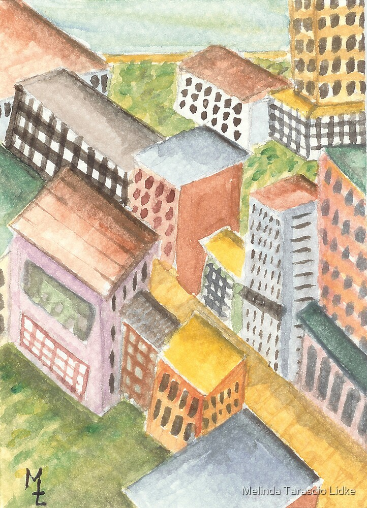 Streets of Gold Cityscape Watercolor 310 by Melinda Tarascio Lidke