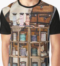Vintage Thread Bobbin Cotton Shelves Photograph Graphic T-Shirt