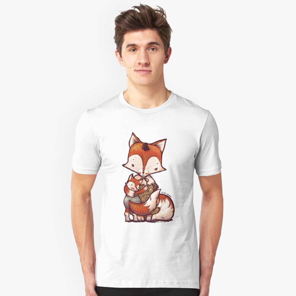Fox Mother and Baby Slim Fit T-Shirt