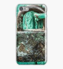Old Rusted Pad Lock Painted Wooden Door iPhone Case/Skin