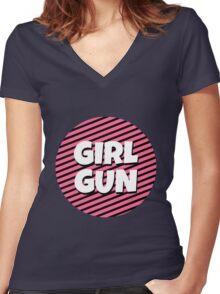 Girl Gun Women's Fitted V-Neck T-Shirt