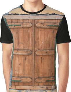 Old Painted Wooden Window Shutter Painted Wall Graphic T-Shirt