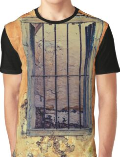 Grunge Old Paint Wall Metal Window Bars Graphic T-Shirt