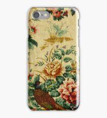 Vintage Floral Fabric Pheasant Pattern Design iPhone Case/Skin