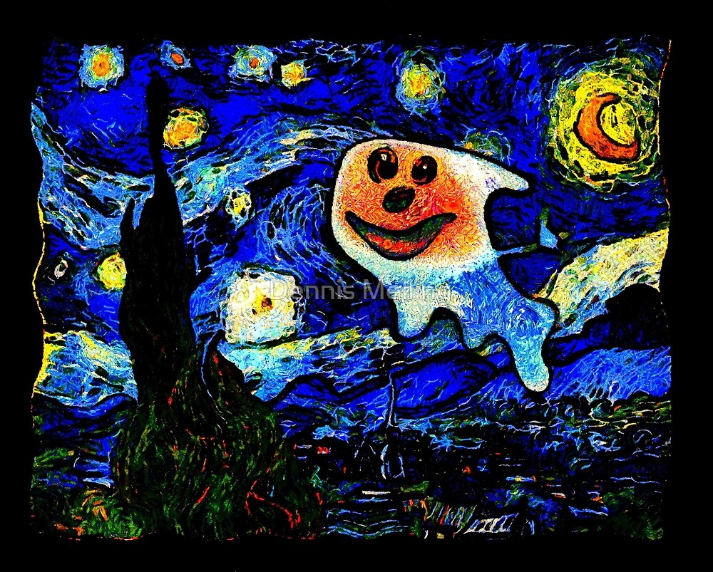 Spooky in a Van Gogh Starry Night by Dennis Melling