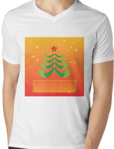 greeting with Christmas tree Mens V-Neck T-Shirt