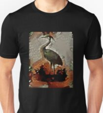 Blue Heron in green and brown Unisex T-Shirt