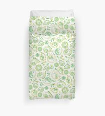 Hedgehog Paisley_Green and White Duvet Cover